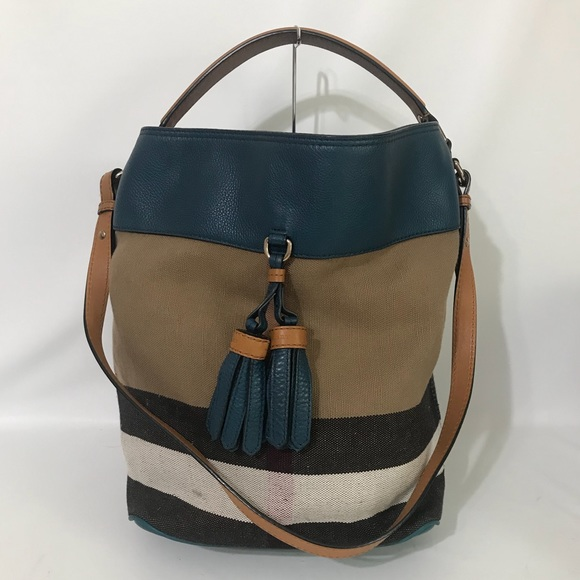 Burberry Handbags - Authentic Burberry Tassel Susanna Tote Blue